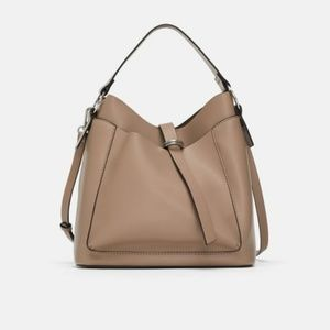 NWT Zara Taupe Hobo Bucket Bag Buckle Details